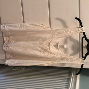 Joie off white silk tank top with trim details